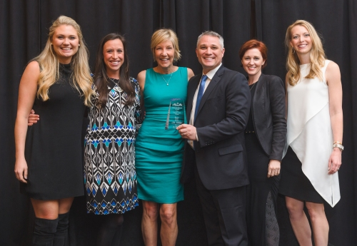 (left to right) Jordan Dickie, Elizabeth Conroy, Becky Frey, Byran Pacholski, Natalie Hatchett, and Shelle Carrig celebrate the announcement of the Becky Frey Team as the 2015 Top Producing team